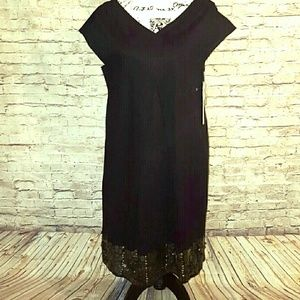 DKNYC  Dresses & Skirts - DKNYC Black Shift Dress With Bronze Coin&Sequins