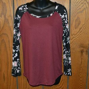 Tops - Burgandy, floral black long sleeve
