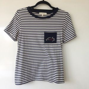 striped tee with stitched pocket