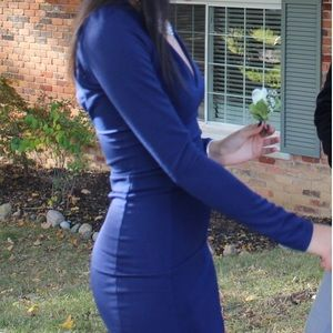 🌿 Windsor Navy Blue Midi Long Sleeve Dress