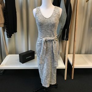 Tie waist marled sweater body con dress