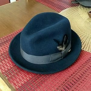 Bailey Of Hollywood Accessories - Navy blue Bailey 100% wool feather bowler hat