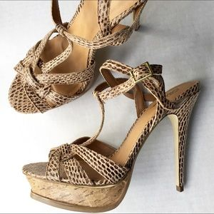 Paprika Shoes - Paprika 'Chevy' reptile embossed t-strap heels