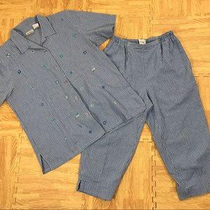 Koret Francisca Blue Gingham Capri Pant Set Size M