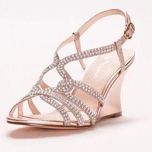 Elements by Nina Shoes - Nina Rose Gold Embellished Strappy Wedge Sandals