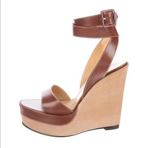Hermes Shoes - Hermes leather wedge sandals 37 36.5