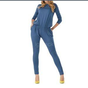 NWOT Blue one piece jumpsuit (lowest)