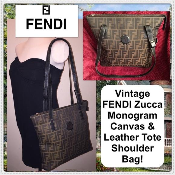 4d21e8d5c6c Fendi Handbags - Vtg FENDI Zucca Monogram Canvas   Leather Tote Bag