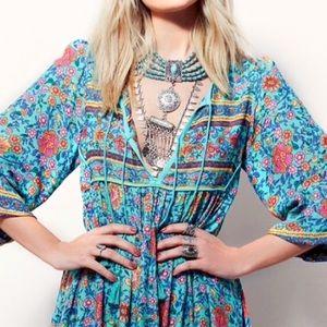 Dresses & Skirts - RESTOCKED!! Folk Town Teal Floral Maxi DRESS NEW
