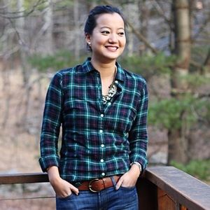 J. Crew Tops - J. Crew green plaid button down shirt