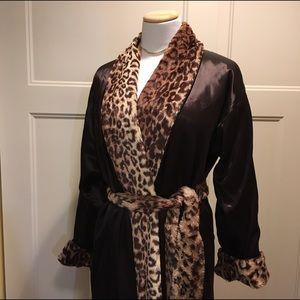 Little Giraffe Other - dark chocolate silky robe with plush cheetah liner