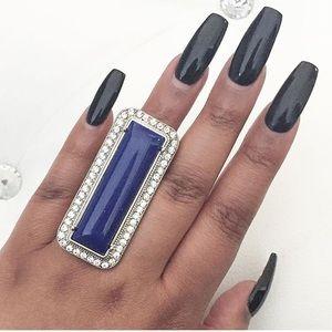 NWT Rectangular blue stone ring