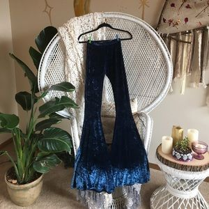 Pants - Blue velvet bell bottoms