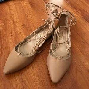Zara Shoes - Zara nude lace up pointy flats