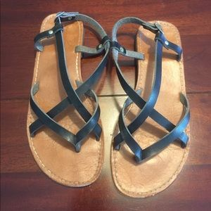 Bamboo Shoes - Bamboo black & brown strappy sandles