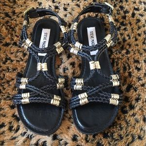 Steve Madden Shoes - Steve Madden Black & Gold Sandals