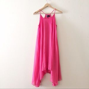 Pleated High Low Maxi Dress