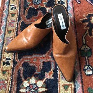 Steve Madden Shoes - Steve Madden Roper Cognac Leather Mules Booties