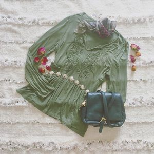 Anthropologie Tops - • Bohemian • Olive Green Fringe Embroidered Top •