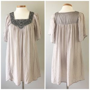 F21 Beautiful Taupe Embroidered Sheer Flowy Tunic