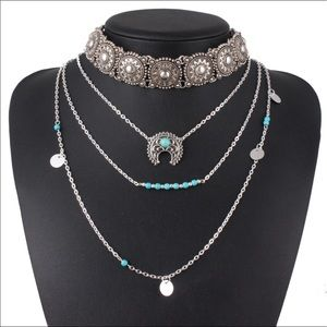 Jewelry - Bohemian 3 Layer Silver and Turquoise Necklace