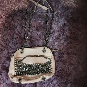 Zara Pink Bag with Metal straps and hardware