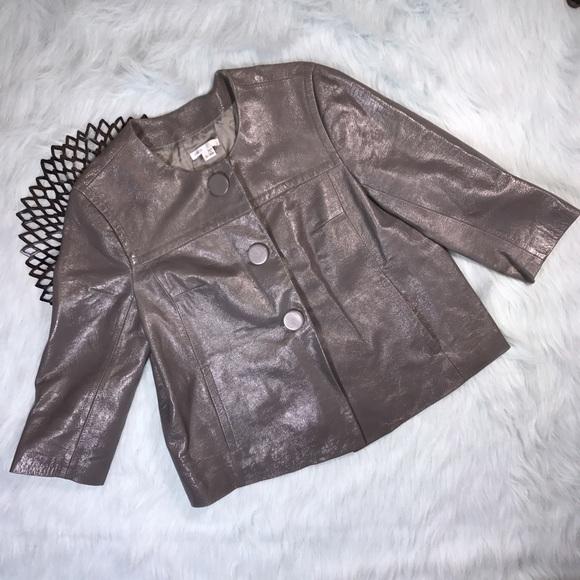 Vince Jackets & Blazers - Vince Gray Wrinkled Leather Jacket