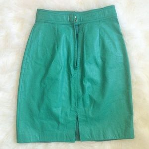 80s Vintage Green Leather Skirt
