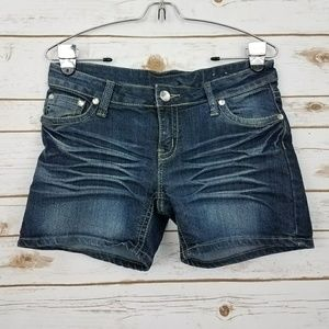 Pants - Dark Wash Jean/Denim Shorts w/ Rhinestones Size 4