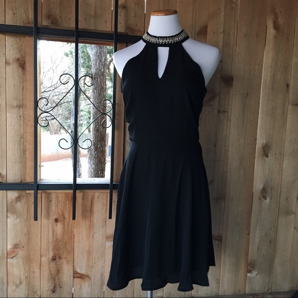 8365d0c2b7 Little black high neck Christmas holiday dress