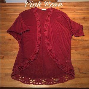 Pink Rose Sweaters - Beautiful Maroon Pink Rose Cardigan