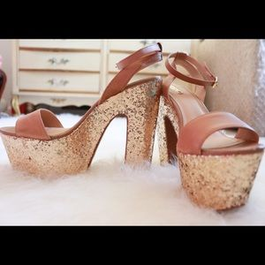 Gold Glitter Leather Platform High Heels-Tan