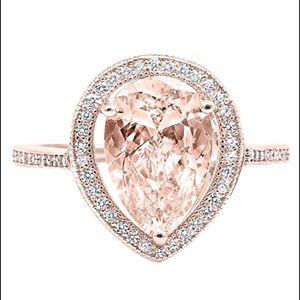 Jewelry - Tear Drop Morganite Rose Gold Engagement Ring