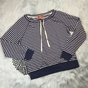 Joe Fresh Blue & White Striped Pullover Sweater