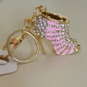 Accessories - Pink keychain/purse charm w/white crystals
