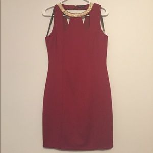 Deep Red Dress with crystal neckline detail