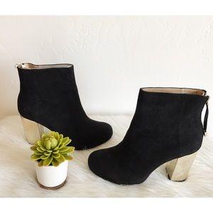 NWOT Zara Gold Suede Heel Booties