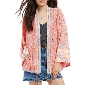 Free People Coral Floral Kimono Jacket + FREE GIFT