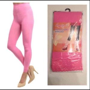NIP pink footless tights with lace