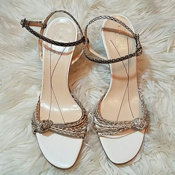 961bc9dc95e3 kate spade Shoes - KATE SPADE Strappy Knot Snakeskin Heels Sandals