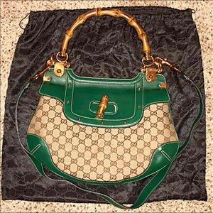 GUCCI Leather Bamboo Handle Peggy Bag