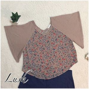 Lush Tops - Lush Sheer Floral Blouse