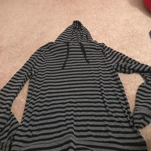 Gray and black striped hoodie