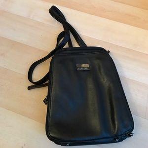 Perlina Handbags - Vintage small black leather backpack