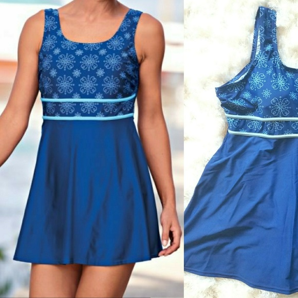 0fa027cdc8 Blair Other - Blair 20W Blue Plus Size Swimdress - Skirted Suit