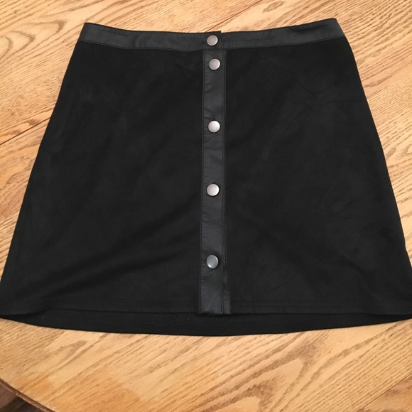 forever 21 suede button up high waisted mini skirt from