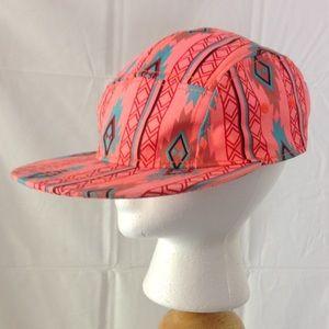 ? Accessories - Peach Color Aztec Pattern 5 Panel Beltback Hat