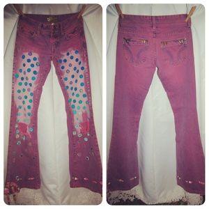Hollister Denim - 💜Host Pick💜 Bows & Polka Dot Hand Painted Jeans