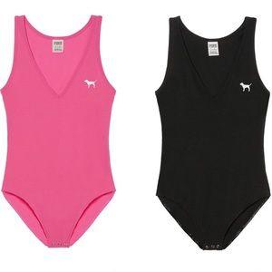 PINK Victoria's Secret Tops - Victoria's Secret PINK V-Neck Bodysuit Bundle NWT