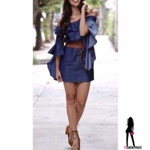 Dresses & Skirts - Carmen Off Shoulder Denim Dress w/Leather Belt